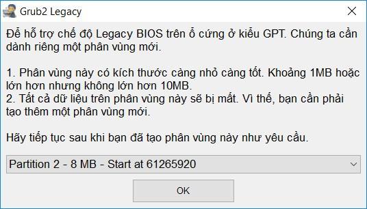 Cài Grub2 trên ổ cứng GPT