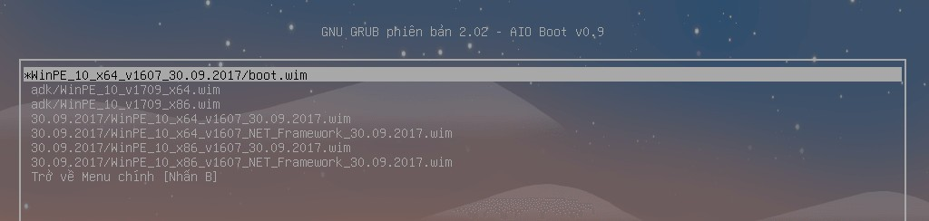 Boot wimboot từ Grub2
