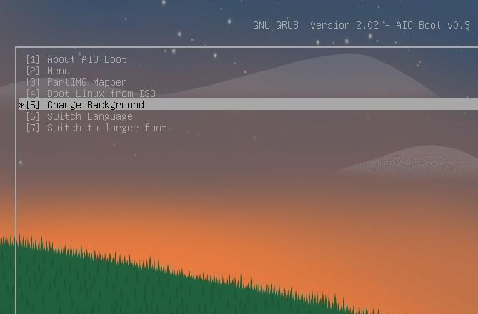 Grub2 background image, language and font size