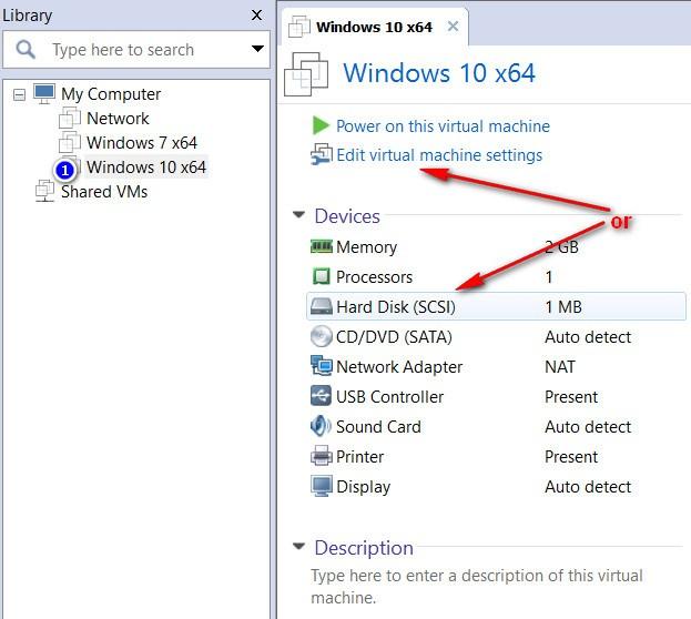 VMware Workstation - Edit virtual machine settings