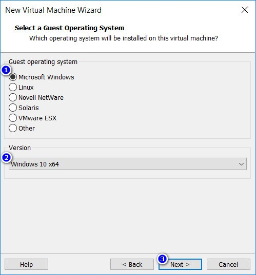 VMware Workstation - Select a Guest Operating System