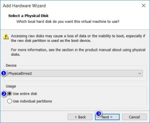 VMware Workstation - Select a Physical Disk
