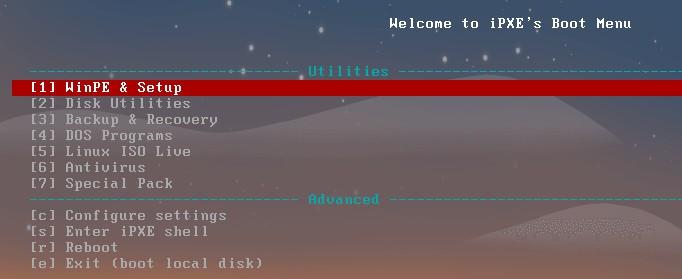 iPXE menu
