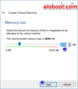 VirtualBox Memory size